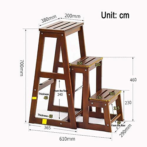 Ladder huishoudtrapladder voor volwassenen, 3 treden ladders voor keuken, eetkamerkruk, houten rek, schoenen, bank voor 220 pond