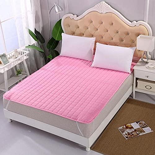 XGguo Protector de colchón, algodón, poliéster, Alfombrilla Protectora cepillada Antideslizante Mat-Pink_200 * 220cm