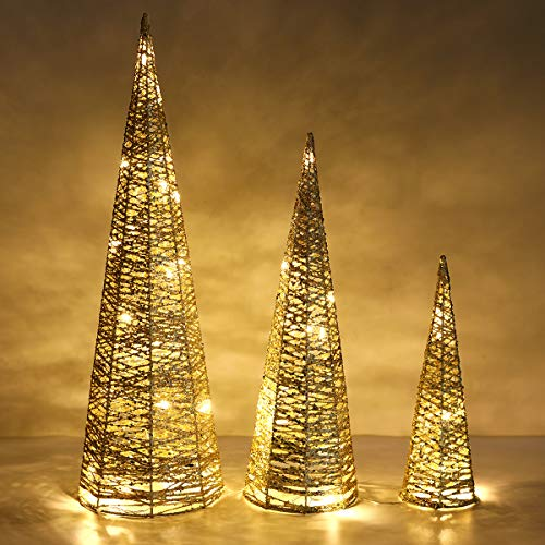 Lewondr Christmas Cone Tree LED Light, 3 Pieces Battery Powered Exquisite Decorative Light Glittering Xmas Tree for Indoor Outdoor Use Festival Decorations Home Décor (24'/18'/12') - Gold