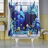 TTYAC Ocean Dolphin Deep Sea Poliéster Cortina de Ducha Baño Impermeable con 10 Ganchos Pedestal Alfombra Tapa Cubierta de Inodoro Juego de Alfombrillas de baño