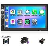 CAMECHO Radio Coche 2 DIN 7 Pulgadas Pantalla Táctil con Carplay y Android Auto + Bluetooth Manos Libres + iOS/Android Enlace Espejo FM Autoradio Soporte AUX/USB + Cámara Trasera