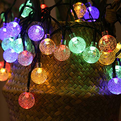 50 LED Solar Fairy Lights Outdoor Waterproof, (8 Modes) 23ft /7m Outdoor String Ball Round Solar Powered Garden Lights for Christmas, Garden, Home, Party, Gazebo, Lawn, Patio(Multi-Color)