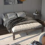 Giantex 14 Inch Solid Wood Platform Bed Frame, Rubber Wood Made Mattress Foundation, Heavy Duty Slats Support, No Box Spring Needed (Espresso, Queen)