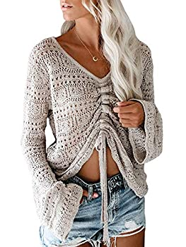 Saodimallsu Womens Boho Off Shoulder Sheer Crop Tops Bell Sleeve Flowy Oversized Crochet Ruched Pullover Sweaters Grey