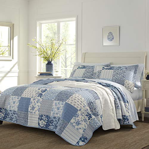 Laura Ashley Home | Paisley Patchwork Collection | Quilt Set - 100% Cotton, Reversible, Lightweight & Breathable Bedding, Pre-Washed for Added Softness, Queen, Blue