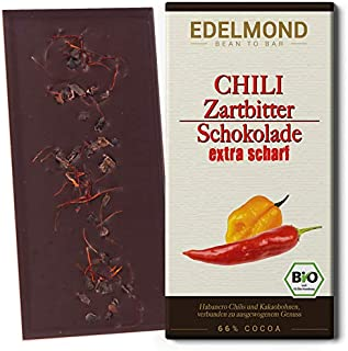 Edelmond Bio Chili Schokolade scharf. Habanero Schoten in langzeit geführter zartbitter Schoko. Vegan und Fair-Trade. Cilli  Cacao
