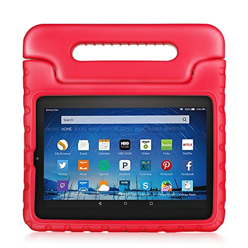 TNP Shock Proof Case for All New Fire HD 8 Tablet (7th Gen, 2017 Release) - for Kid Friendly Child Proof Anti Slip Impact Drop Light Weight Convertible Handle Stand Cover Protective Case (Red)
