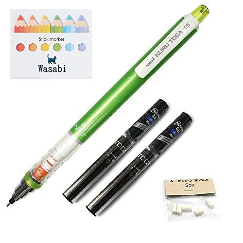Uni Kurutoga Mechanical Pencil Standard, 0.5mm, Green & Kuru Toga Pencil Lead - 0.5mm � HB, 20 Leads X 2-pack/Total 40 leads & Spare Erasers & �Wasabi� Sticky Note (Green Barrel)
