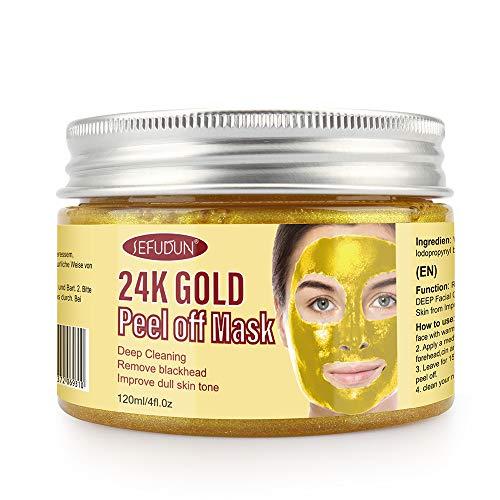 24K Gold Gesichtsmaske, Mitesserentferner Maske, Peel Off Gesichtsmasken für Anti-Aging Anti-Falten-Gesichtsbehandlung Porenminimierer, Akne-Narben-Behandlung