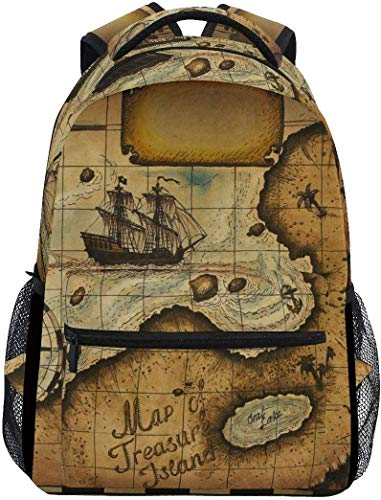 WKLNM Rugzak Vintage Nautical Wold Map Comapss Casual Backpack Student School Bag Travel Hiking Camping Laptop Daypack