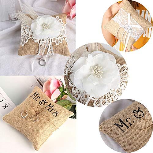 Babettew Señora DIY Craft Party Romántico Yute Almohada Decoración de la Boda Portador del Anillo Cojines