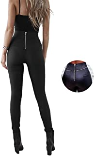 Womens Sexy Zip High Waisted Skinny PU Leather Pants Long Stretch Slim Leggings Black