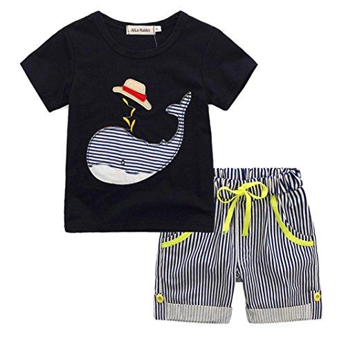 Conjunto de Camiseta y Pantalones Cortos de Verano para ni/ños puseky dise/ño de Rayas de cocodrilo