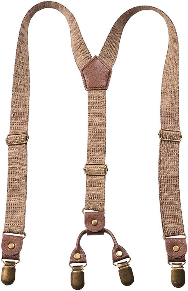 Retro Suspender Trouser Braces Brown Elastic Y-Back Adjustable Brass Strong Clips 2.5 cm Wide