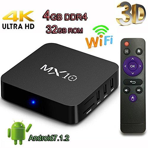 TV Box, Super-VIP MX10 Smart 4K TV Box Android 7.1.2 RK3328 Quad Core 4GB DDR4 32GB Wifi Set Top Boxes Support 3D 4K Ultra HD TV