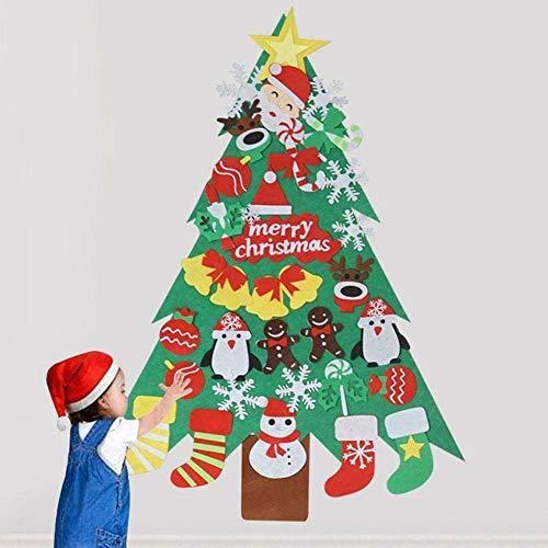 Full Children's DIY Felt Christmas Tree Ornament Wall Hanging Decoration, 30 Pieces of Glitter Decoration, Detachable