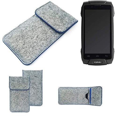 K-S-Trade Handy Schutz Hülle Für Cyrus CS 30 Schutzhülle Handyhülle Filztasche Pouch Tasche Hülle Sleeve Filzhülle Hellgrau, Blauer Rand