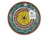 Assiette décorative murale en céramique - Assiette de décoration méditerranéenne bleu-blanc-jaune - 100 % fabriquée à la main - 21 x 21 x 2,5 cm