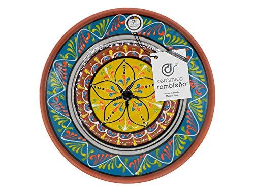 Ceramica Ramblena | Piatto decorativo da appendere a parete | Piatto in ceramica | Piatto decorazione mediterranea blu/bianco/giallo | 100% fatto a mano | 28 x 28 x 4,5 cm
