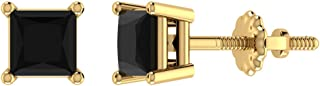 Black Diamond Stud Earrings for Women Men Princess Cut 14K Gold Gift Box Authenticity Cards