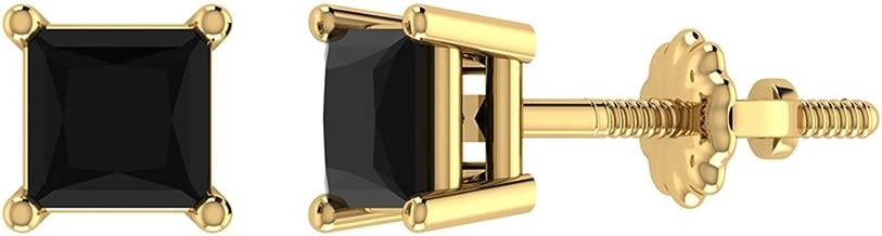 Black Diamond Stud Earrings for Women Men Princess Cut 14K Gold