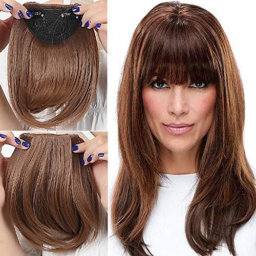 Elailite Frangia Capelli Clip Frangetta Frontale Finta Extension Fascia Unica Hair Bang Fringe Lisci Corti Hairpiece Posticci, Marrone Chiaro