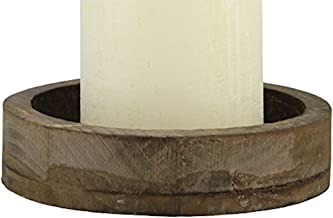 Stonebriar Rustic Wood and Metal Candle Plate Fits Up to 4 Inch Diameter Pillar, Small, Brown