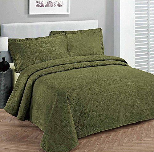 Fancy Collection Luxury Bedspread Coverlet Embossed Bed Cover Solid Olive Green New Over Size King/California King 118