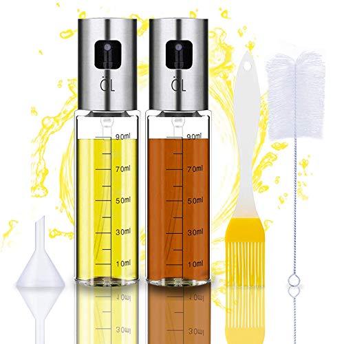 Oil Sprayer Olivenöl Sprüher zum Kochen 4 in 1 nachfüllbare Öl- und Essigspender Flasche mit Backpinsel, Flaschenbürste und Öltrichter zum Grillen,Salat Machen,Kochen,Backen,Braten,Grillen,2 Stck