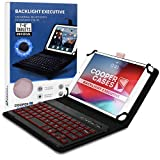 7-8 Zoll Tablet Hülle mit Tastatur, Cooper Backlight Executive 2-in-1 kabellose Bluetooth-Tastatur mit LED-Hintergr&beleuchtung, Leder, Reiseetui, Mappe, Standfuß, 7 Farben (Roségold)