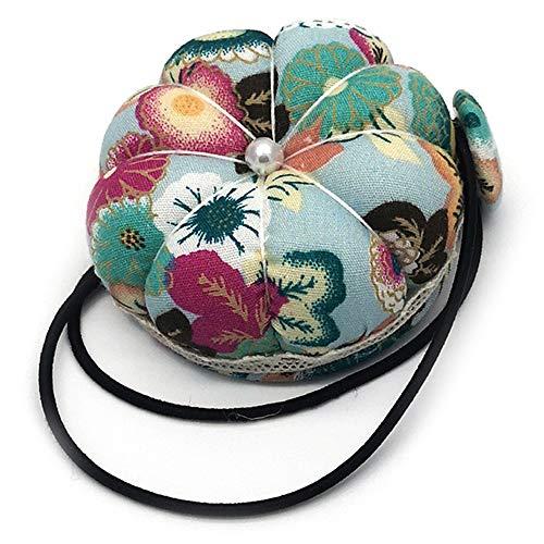 LINVINC Cojín para Alfileres - Alfileres de Almacenamiento con Diseño de Calabaza Floral para la Muñeca, Alfileres de Almohada para Costura, Verde