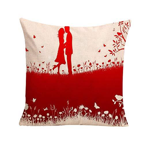 Janly Clearance Sale Funda de almohada, funda de cojín cuadrada con texto en inglés 'Happy Valentine's Day', para Navidad, hogar y jardín, (G)