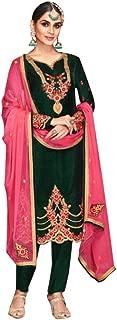 Designer Green Velvet with Contrast Embroidered Muslim Indian Women dress Straight Salwar suit 7463