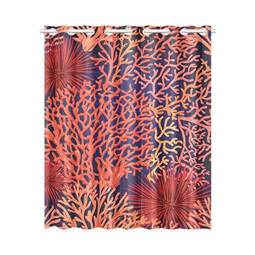 YXUAOQ Innenfenstervorhang Helle Farbe Coral Ocean Life Damen Schlafzimmer Vorhänge 52x63 Zoll (132x160cm) 1 Panel Blackout Tülle Vorhang für Schlafzimmer Wohnzimmer