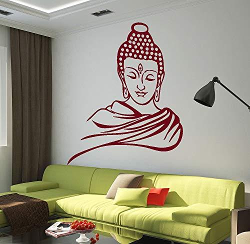 hetingyue Religiöse Buddha Kopf abnehmbare Vinyl wandtattoo wandaufkleber kunstwandhauptdekoration Wohnzimmer Studie 57x70 cm