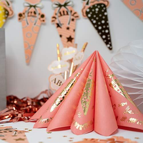 Oblique Unique® 20 Servietten für Schuleinführung Schulanfang Einschulung Deko für Mädchen mit Zuckertüte ABC 1 + 2 = 3 Stifte Motive Rosa