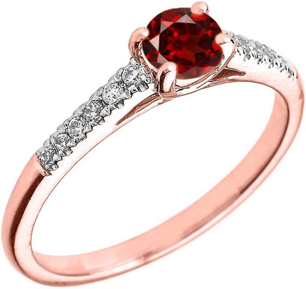 10K Rose Gold Diamond and Garnet Engagement Proposal Ring