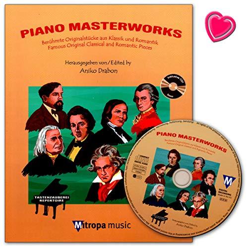 Piano Masterworks - Berühmte Originalstücke aus Klassik und Romantik - Autor: Aniko Drabon - Notenbuch mit CD und bunter herzförmiger Notenklammer / 1956-13M ISBN: 9789043137546