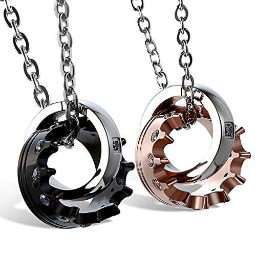 JewelryWe Schmuck 2 Freundschaftsketten Krone Ring Edelstahl Partner Anhänger mit 45cm und 54cm Kette, Halskette für Damen & Herren, Rosegold Schwarz Silber, kostenlos Gravur