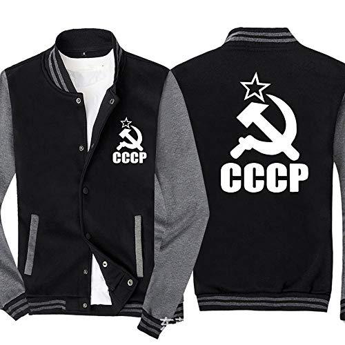 Jacket Hombres Sudadera Chaqueta - CCCP Impreso Camiseta De Manga Larga Uniforme De Béisbol con Cremallera Chaqueta De Punto - Adolescente Regalo Black Gray-XXL