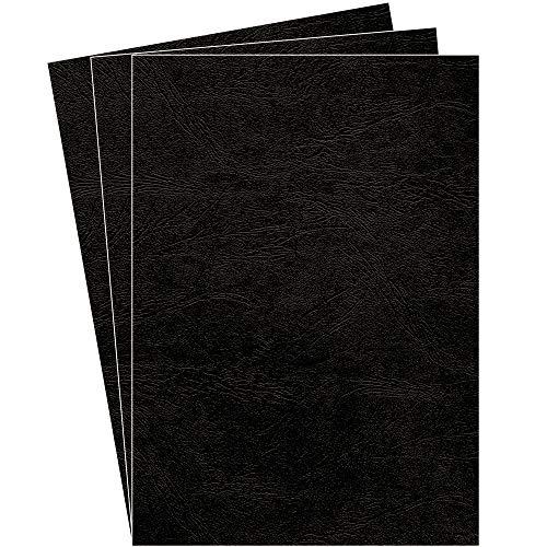 Fellowes Portadas para encuadernar de cartón símil piel Delta Cuero, extra rígido, 250 micras, 100% reciclables, formato A4, con certificación FSC, pack de 100, color negro
