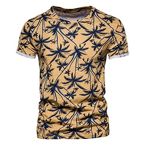 Camiseta Hombre Camiseta Slim Fit Hawaii Vacaciones Verano Estampado De Árboles De Coco Cuello Redondo Manga Corta Top Fibra Elástica Transpirable Y Ligera Camiseta Hombre C-Yellow L