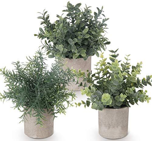 ilauke - Juego de 3 mini plantas artificiales en maceta de e