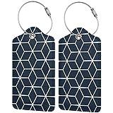 Dataqe - Etiquetas para equipaje de piel para cubierta de privacidad de 2.87 x 4.57 pulgadas (rejilla hexagonal entrelazada azul marina), Negro (Negro) - Asfgs534-43410258