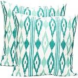 TRESMESTRES Fundas de Cojines 60x60 - Decoración Ikat - Decorativos para Sofá o Almohadas/Almohadones para Cama - Grandes - Diseño Mediterráneo - Funda Cojín 60 x 60 cm, 2 Pack, Turquesa