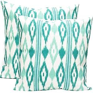 TRESMESTRES Fundas de Cojines 45x45 - Decoración Ikat - Decorativos para Sofá, Almohadas/Almohadones para Cama - Diseño Mediterráneo - Funda Cojín 45 x 45 cm, 2 Pack, Turquesa