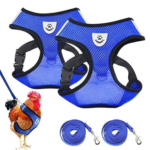 Adjustable Chicken Harness with Leash Chicken Leashes and Harnesses Elastic Comfortable Breathable Pet Harness for Chicken,Duck,Goose,Hen Traning Walking, 2PCS
