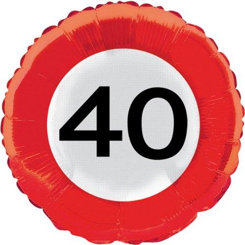 Folat Luftballon im Straßenschild-Design für den 40. Geburtstag, 45cm, Party-Folienballon