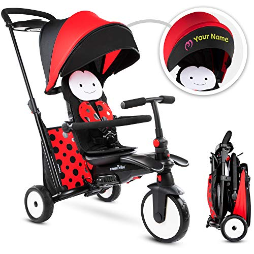 smarTrike STR5 Folding Toddler Tricycle for 1,2,3 Year Old with Customized Embroidery - 7 in 1 Multi-Stage Trike, Red