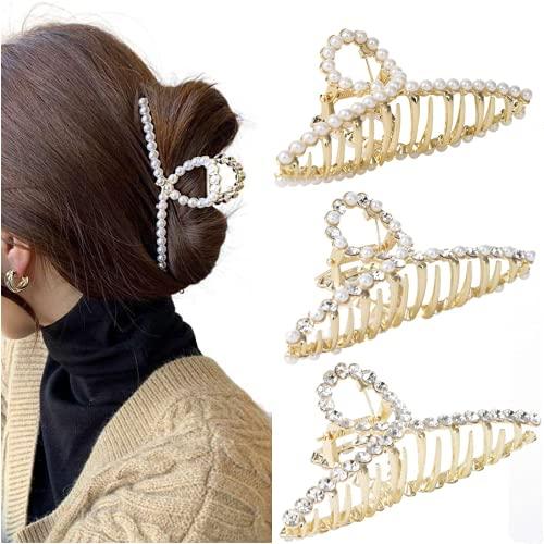Haarspangen Damen Metall Haarklammer Groß - Dickes Haar Tocess Haargreifer Rutschfeste Haarspange Perlen Haarklammern Gold Hair Claw Clips Haar Spange FüR Frauen